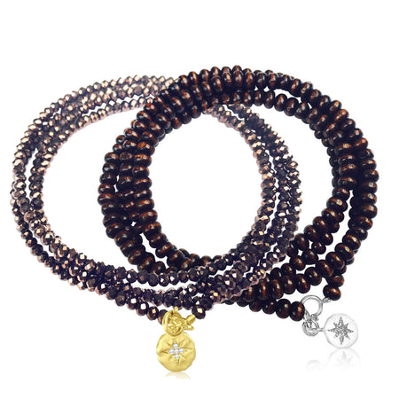 Key to Success Midnight Color Crystal Wrap Bracelet - Brass Key