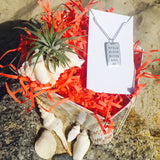 Succulent Jewelry Box: Tillandsia & Never Give Up Sterling Silver Dog Tag Necklace
