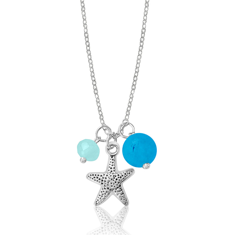 Starfish Ocean Charm Necklace with Ocean Green Foam Crystals
