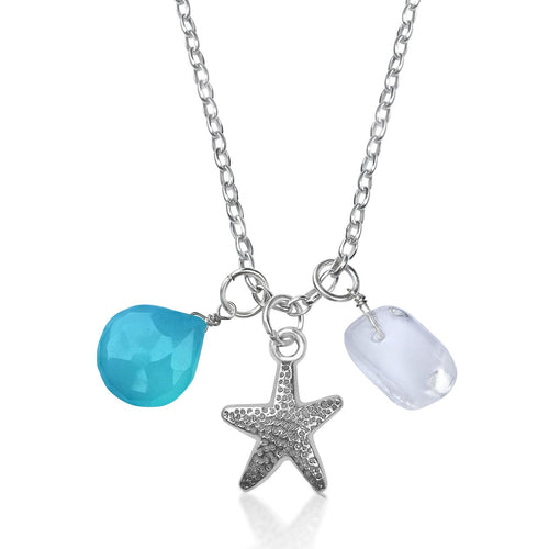 Ocean Inspired Starfish Charm Necklace with Aquamarine and River Crystal