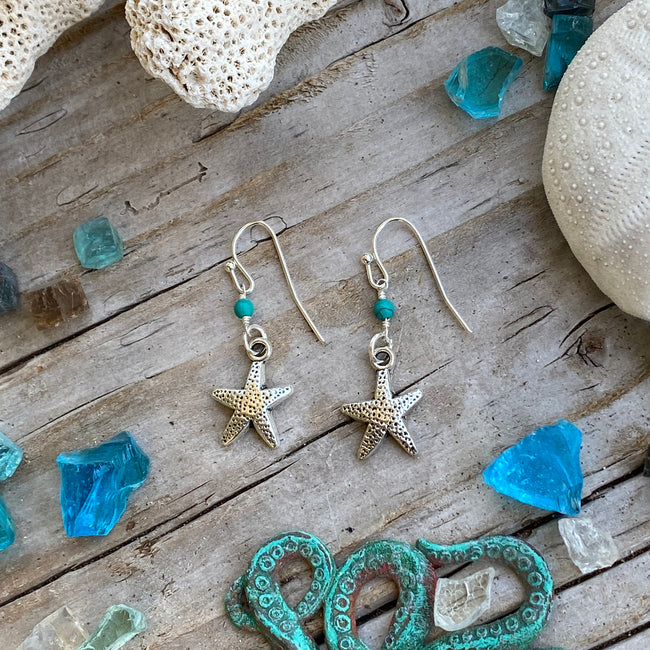 Ocean Inspired Starfish Earrings with Turquoise