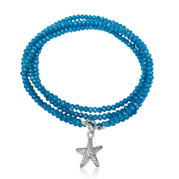 Teal Blue Crystal Wrap Bracelet with Starfish for Ocean Lovers