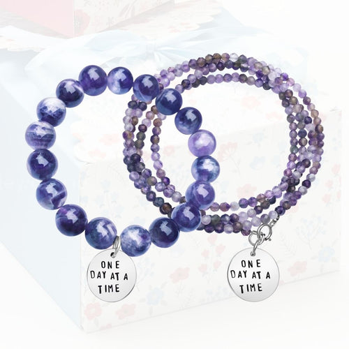 Stress Awareness Bracelets: One Day at a Time Inspirational Amethyst Bracelet and Wrap Duo