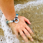 Zero Waste Bracelet with up-recycled SCUBA parts and Sea Glass