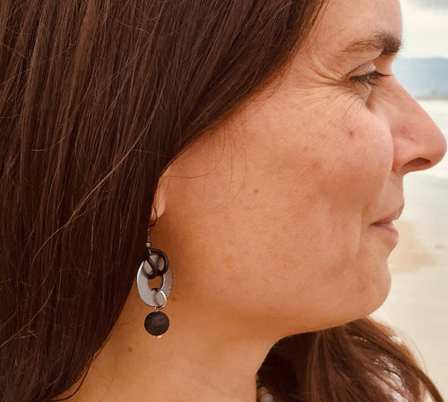 Zero Waste Earrings with up-recycled SCUBA parts and Lava