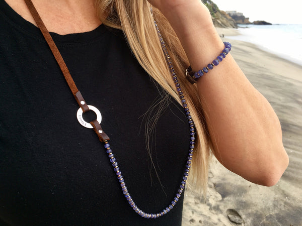 Serenity Statement Jewelry: Tanzanite, Leather Prayer Inhale / Exhale Necklace to Celebrate Individuality. Brings good vibes for gracefully aging women. Sophisticated, inspirational and yoga accessory. Mindfulness reminder to Breathe.