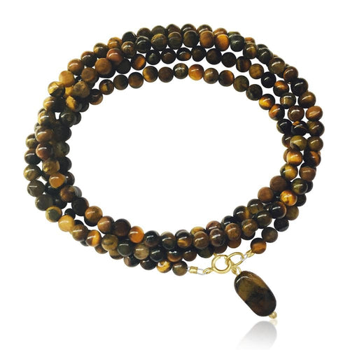 Tiger Eye Wrap Bracelet for Grounding Mindfulness Yoga Accessory