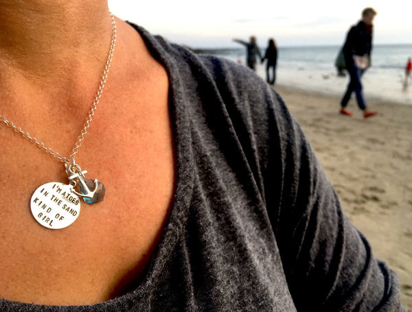 This I am a toes in the sand kind of girl Necklace is inspired by my love for the beach, boating, scuba diving and just walking barefoot in the sand to bring out the hopeful & playful side of you.