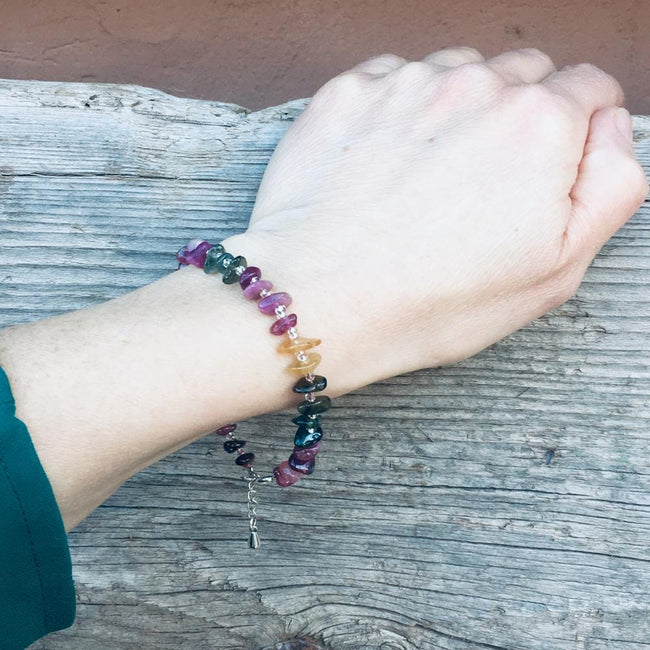 Rainbow Chakra Tourmaline Bracelet for Self Love. One size fits all with adjustable clasp for the perfect fit. If you don't love yourself, you can not love others.
