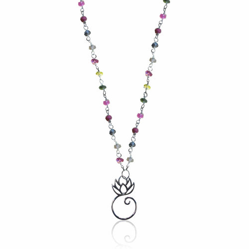 Rainbow Tourmaline Necklace with Lotus Flower for Tolerance