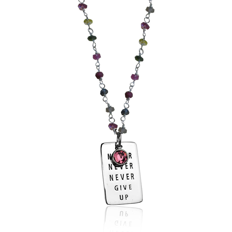 Inspirational Sterling Silver Never Give Up Dog Tag with Silver Wire Wrapped Tourmaline Necklace