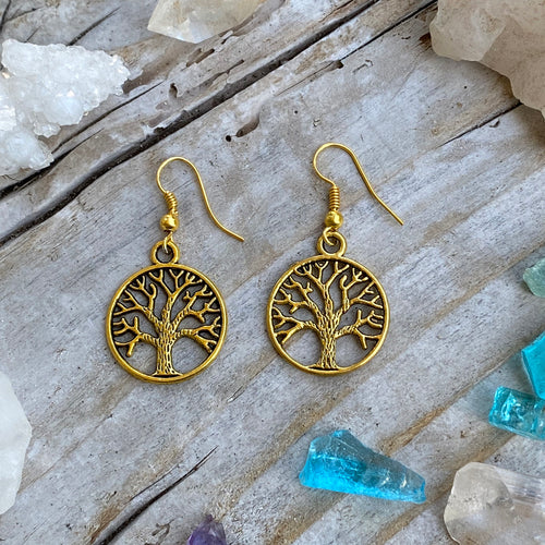 Gold Tree of Life Earrings for Grounding
