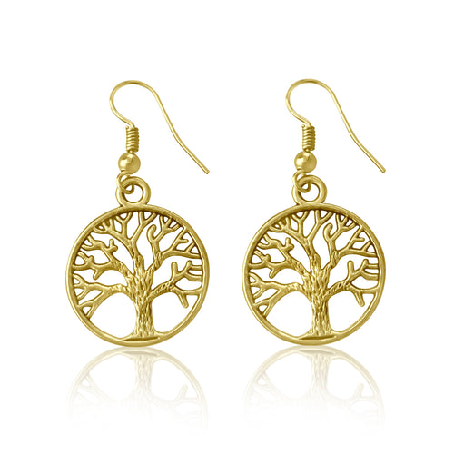 Gold Plated Earrings with Tree of Life for Grounding