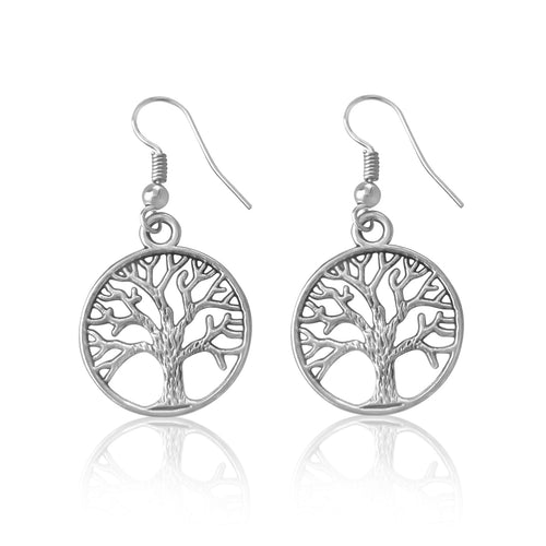 Silver Earrings with Silver EP Tree of Life for Grounding