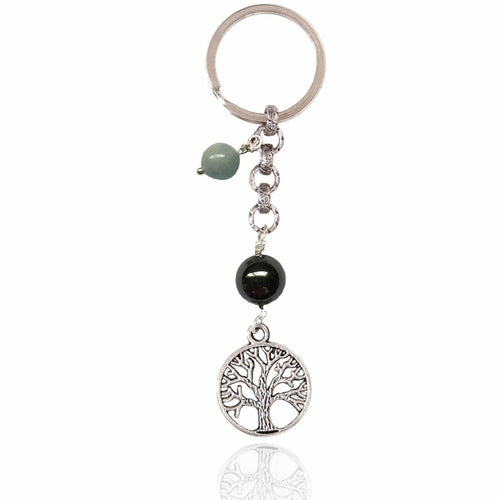 Tree of Life Keychain for Grounding with Hematite and Aquamarine