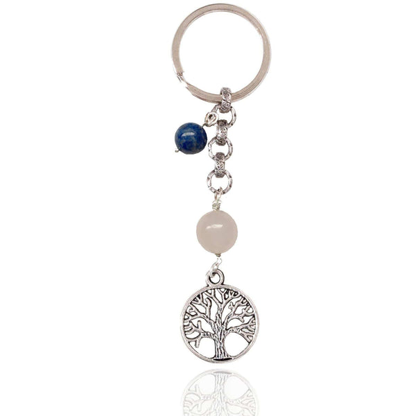 Tree of Life Keychain for Grounding with Rose Quartz and Lapis Lazuli