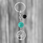 Tree of Life Keychain for Grounding with Turquoise and Lava Stone
