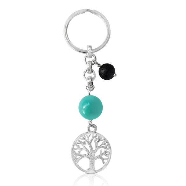 Tree of Life Keychain for Grounding with Turquoise and Lava