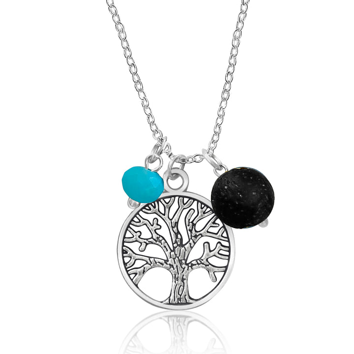 Tree of Life Necklace for Grounding with Lava Stone and Teal Green Crystal