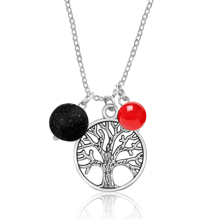 Tree of Life Necklace for Life-Force with Lava Stone and Red Jade