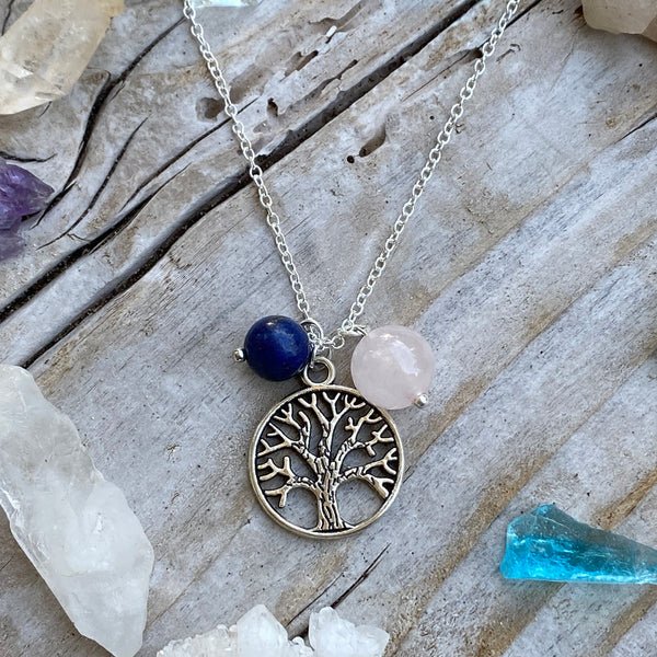 Silver Tree of Life Necklace for Grounding with Rose Quartz and Lapis Lazuli