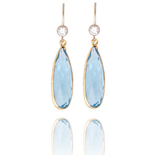 Aquamarine Crystal Gold Filled Earring for Courage