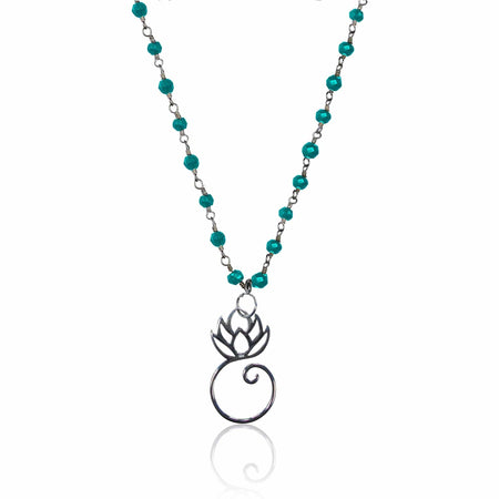 Ohm Charm Necklace with Turquoise and Silver Ball