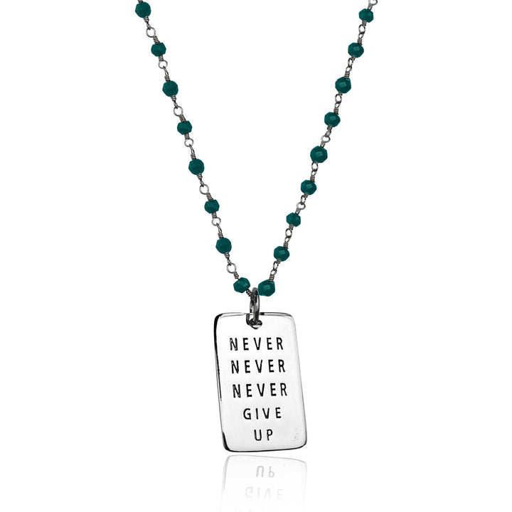 Inspirational Sterling Silver Never Give Up Dog Tag on Silver Wire Wrapped Turquoise Necklace