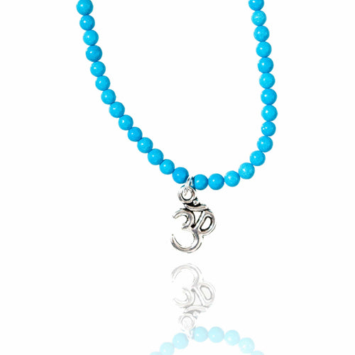 Yoga Inspired Turquoise Necklace with Ohm charm.