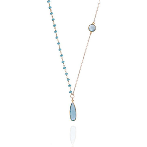 Asymmetrical Aquamarine Crystal Gold Filled Necklace for Courage