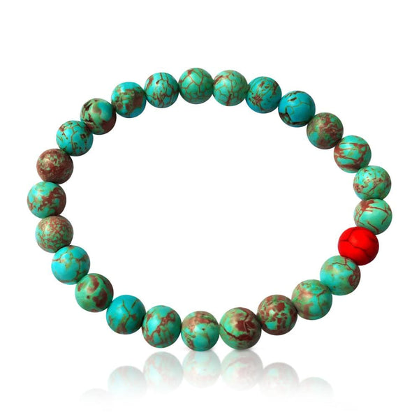 Wanderlust Turquoise Mala Bracelet  Colorful and fun beach or yoga accessory. Stretchy and Strong. Unisex.  Practicing Buddhism? Use it as a stylish wrist mala!
