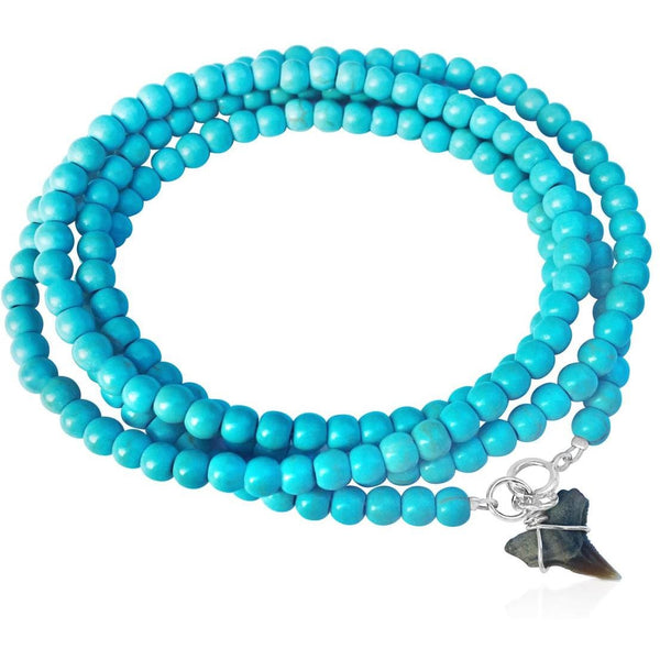 Turquoise Wrap Bracelet with Shark Tooth Charm for the Adrenaline Hunters and Shark Lovers