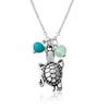 Turtle Necklace with Ocean Foam Green Crystals