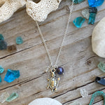 Turtle Necklace with Pearl and Clear Crystal