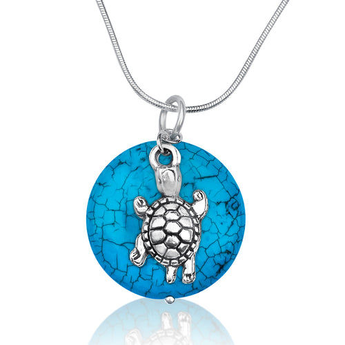 Ocean Inspired Turquoise Pendant with Turtle  Necklace