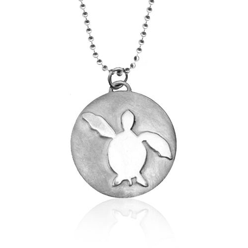 Sterling Silver Ocean Inspired Turtle Necklace from the Miss Scuba Jewelry Collection.