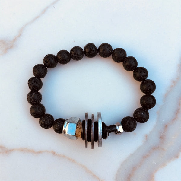 Zero Waste Bracelet with up-recycled SCUBA parts and Lava