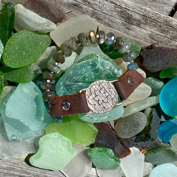 """I Choose Happiness"" Labradorite and Leather Visualization Bracelet with Sunshine Energy Lotus Flower Centerpiece. Limited Special Edition."