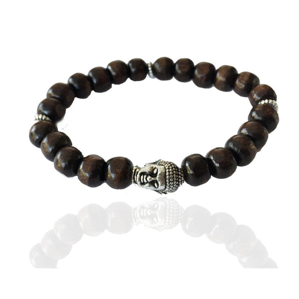 Unisex Wood Mala Bracelet with Buddha for Wisdom