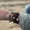 Copper Bronze Wrap Bracelet for Stability with a Gold Filled Compass Charm