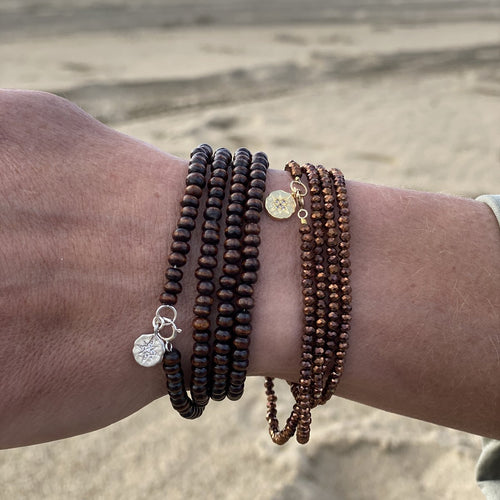 Sparkle Copper Bronze & Wood Wrap Bracelet Combo for Wisdom and Stability with Sterling Silver and Gold Filled Compass Charm