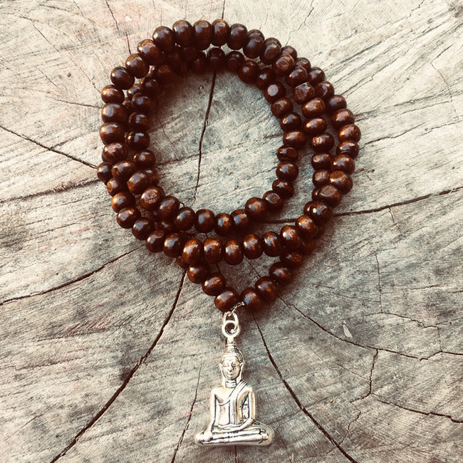 Prayer Bead Mala Wood Necklace with Buddha, 108 beads