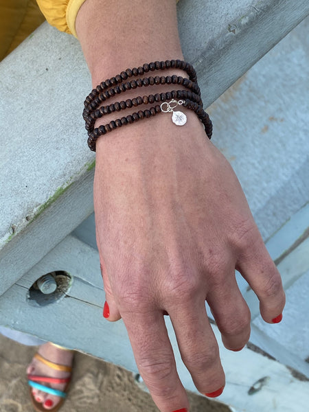 Wood Wrap Bracelet for Wisdom with Sterling Silver Compass Charm