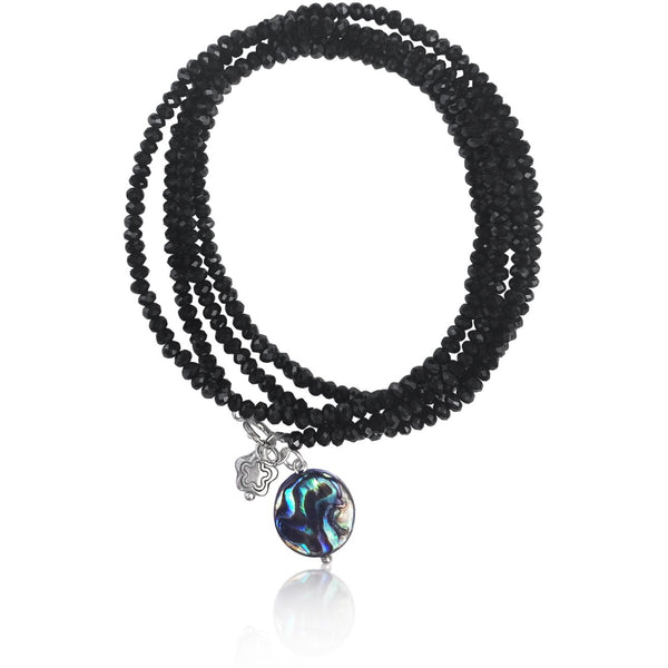 Ocean Beauty Wrap Bracelet with Abalone & Beach Flower Charms embellished Midnight Dark Crystal