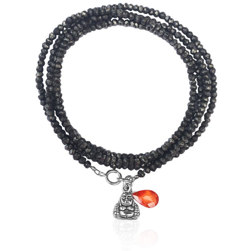 Happiness Midnight Dark Wrap Bracelet with Buddha and Orange Quartz