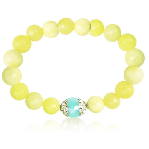 Emotional Balance Jade Bracelet with Aquamarine