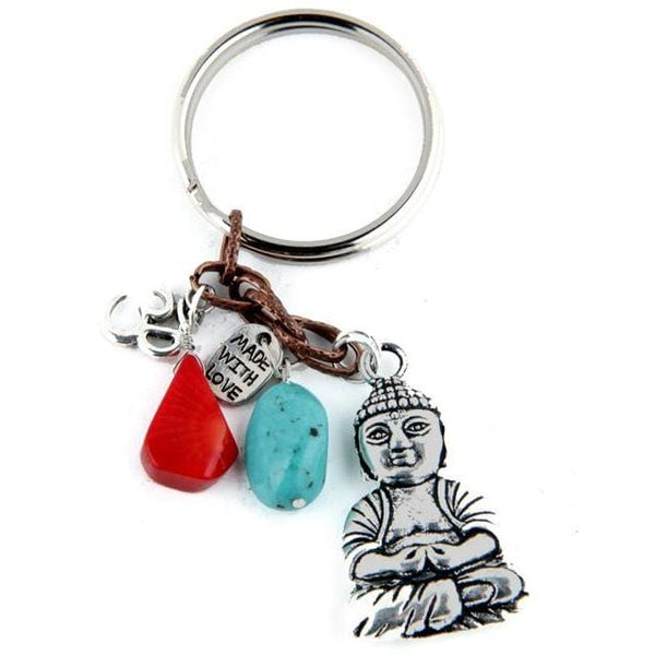 Yoga Keychain with Buddha,Turquoise, Red Coral and Ohm Charms