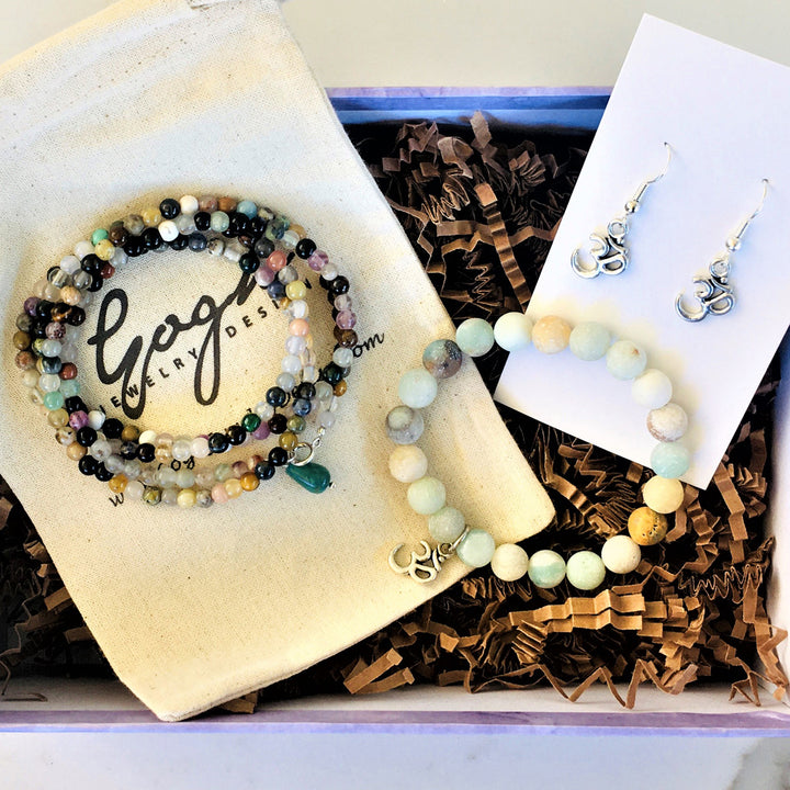 Gift Set for the Yogi: Mindfulness Wrap, Amazonite Bracelet with Ohm and Ohm Earrings Trio in a READY TO GIFT Box