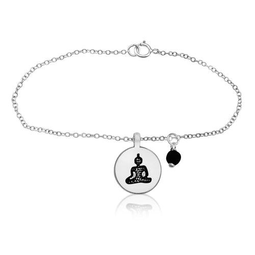 Meditating Yogi Anklet with Lava Stone and Red Jade for Aroma Therapy