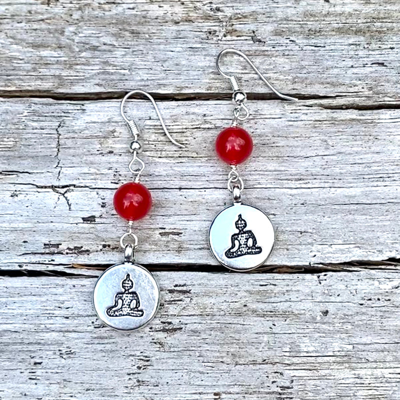 Meditating Yogi Earrings with Red Jade for Chi